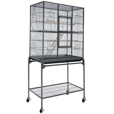 Overall 32x18x64 Black Vein Bird Parrot Cage Aviary Flight Cart Stand Chinchilla