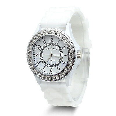Geneva Fashion Crystal Jelly Gel Silicon Girl Women's Quartz Wrist Watch White