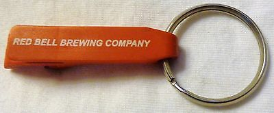 Vintage RED BELL BREWING COMPANY Bottle Opener Key Chain, Red Plastic, RARE