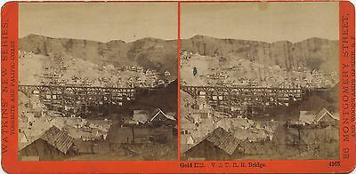 Nevada, Watkins' New Series stereoview 1860's V & T R.R. Bridge, Gold Hill, NV