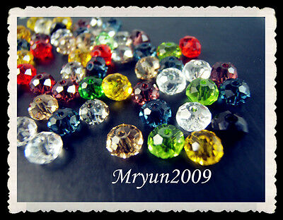 Free Lot 100PCS #5040 Mixed colors TOP crystal Rondelle Charms Spacer Beads 6mm