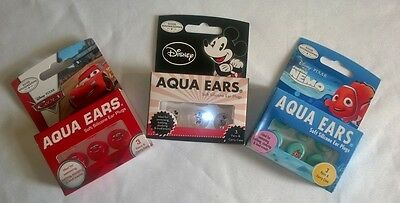 3 Pair ~ Disney Water Swim Kids Silicone Ear Plugs ~ Mickey, Nemo & Cars ~ New