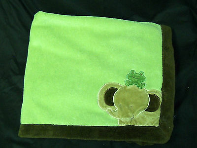 Nojo Little Bedding Minky Blanket Elephant Frog Green Brown Security 30 x 40