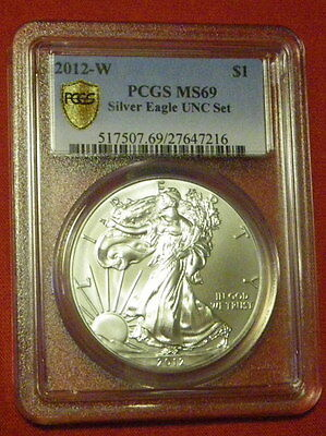 2012 W SILVER AMERICAN EAGLE UNCIRCULATED UNC SET MS 69 PCGS SECURE PLUS rare