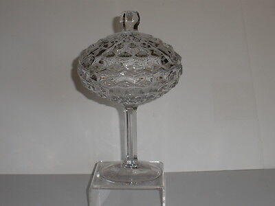 """FOSTORIA AMERICAN 9 """" TALL- FOOTED-COVERED- COMPOTE -2 available"""