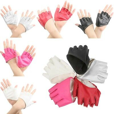 Fashion Half Finger PU Leather Gloves Womens Fingerless Show Pole Dance
