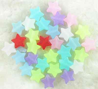 100Pcs 10mm Mixed Color Frosted Acrylic Star Shape Spacer Loose Beads Jewelry# 5