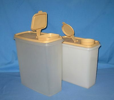 VTG Lot 2 TUPPERWARE Wheat CEREAL CONTAINER/KEEPER STORAGE MODULAR MATES 20/13oz