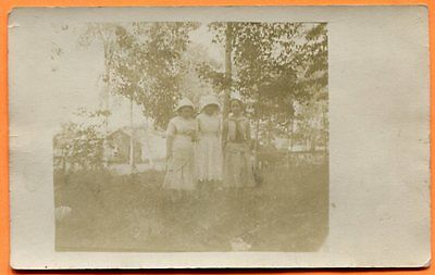 Portrait of a Group of Young Women in the Country, circa 1910s RPPC