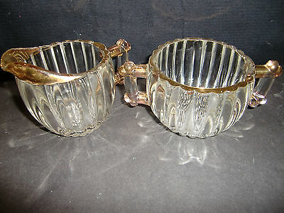 VINTAGE JEANETTE GLASS NATIONAL SUGAR AND CREAMER SET WITH GOLD TRIM