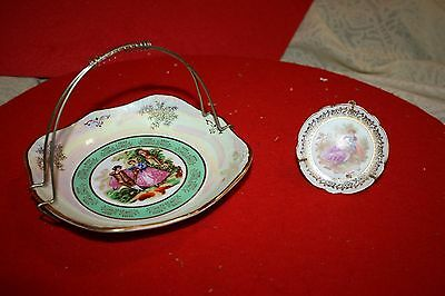 Yusui Porcelain Victorian Style Oil Colored Curved Bowl & Limoges Miniature Pl.