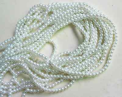 200pcs 4mm White Glass Pearl Czech Round Loose Beads ~ DIY Jewelry Making # 4