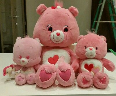 Loves a lot Care Bear Plush Lot Valentine's Day Rare Talking Pink Hearts