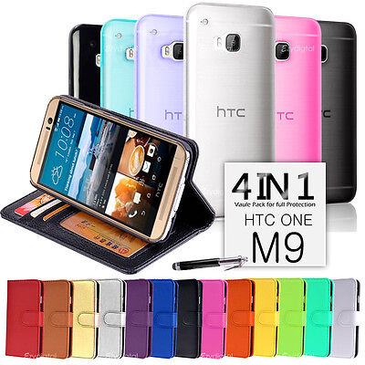 Wallet & Gel 4in1 Accessory Bundle Kit Case Cover For HTC ONE M9