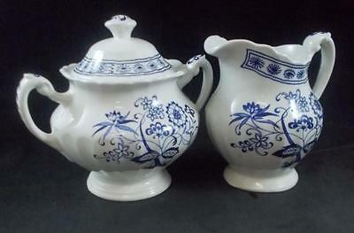 JG Meakin BLUE NORDIC Creamer & Sugar Bowl with LId GREAT CONDITION