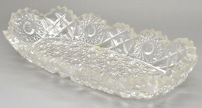 ABP Brilliant Cut Glass Signed Hunt Royal Pattern Relish Condiment Dish Crystal
