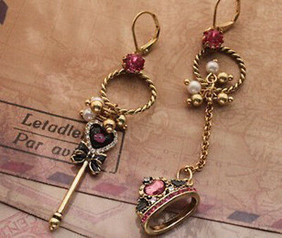 Free shipping Betsey Johnson Love Key Crown Pearl Crystal Vintage Earring E223