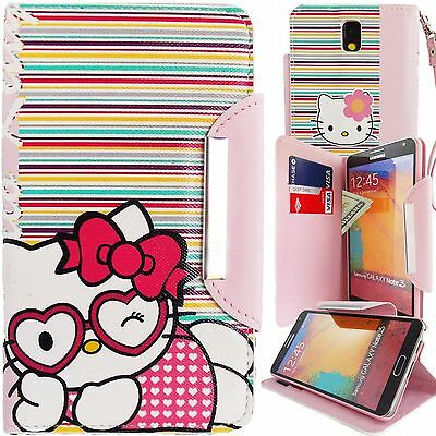 New Cute Hello Kitty Pink PU Leather Stripes Wallet Case for Galaxy Note 3 Cover