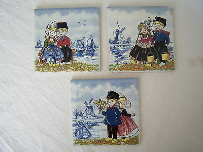 "DUTCH HOLLAND BOY & GIRL Windmill Sweethearts Boat Ship Tiles 4 1/4"" Decorative"