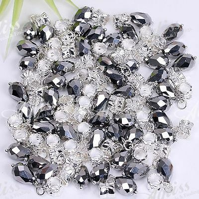50x Job Lot Faceted Teardrop Crystal Glass Spacer European Beads Silver Plated