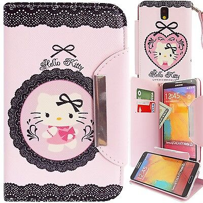 Hello Kitty PU Leather Lace Wallet Case for Samsung Galaxy Note 3 Phone Cover