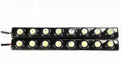 2 x 8 LED Flexible White DRL Car Driving Daylight Daytime Running Light Lamp