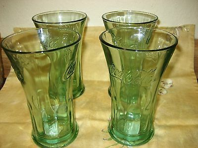 Libbey Heavy COCA COLA  Set of 4 Flared Green 16 Ounce Tumbler  w/ Stickers EXC