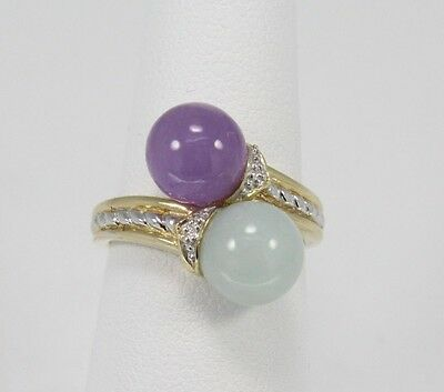 Estate 14Kt Yellow Gold Green Apple And Lavender Jade Bypass Band Ring **