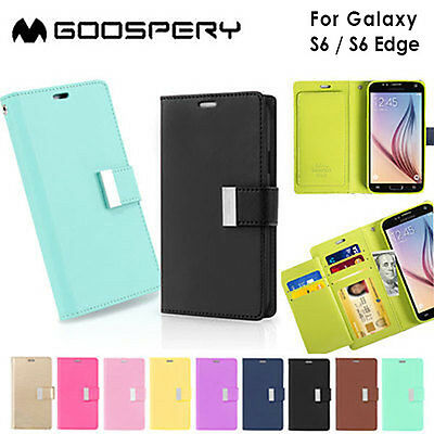 Galaxy S6 S6 edge Wallet Case Genuine Mercury Rich Diary Flip Cover for Samsung