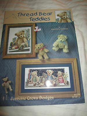 """Cross stitch booklet """"Thread Bear Teddies"""" by Country Threads Jeanette Crews NEW"""