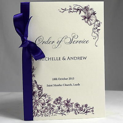 Wedding Order of Service Vintage border  booklets with satin  ribbon luxury