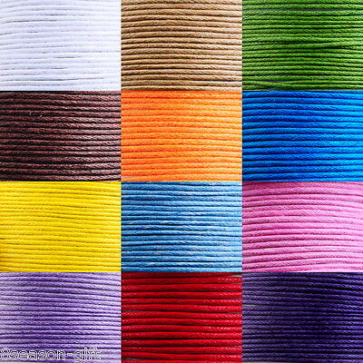 30M NEW Waxed Cotton Cord 1mm For Bracelet/ Necklace 12 Colors Multifunction