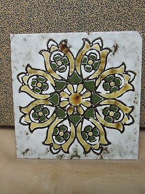 Trivet Italy Tile Glazed Flowers Vintage Terracotta Home Decor Collectible Green