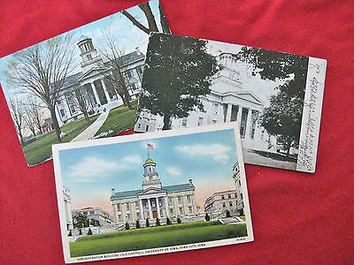 1908-1930 COLOR PENNY POST CARD UNIVERSITY OF IOWA OLD CAPITOL 3-SET! RARE!