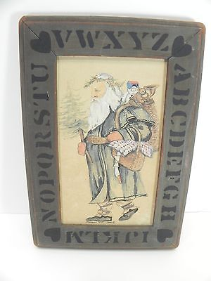 Wonderful Primitive Country SANTA American Folk Art Painting Signed By Artist