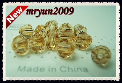Free 200pcs Jewelry Making 5301 COLOR Gold Champagne CRYSTALS SPACER BEADS 4MM