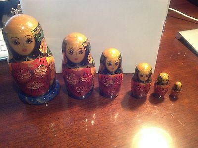 6 PC Lot Set Russian Matryoshka Nesting Doll SIGNED Stacking Wooden Folk Art Toy