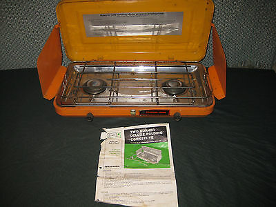VintageTwo Burner Deluxe Folding  Propane Camp Stove Sears  PARTS OR REFURBISH
