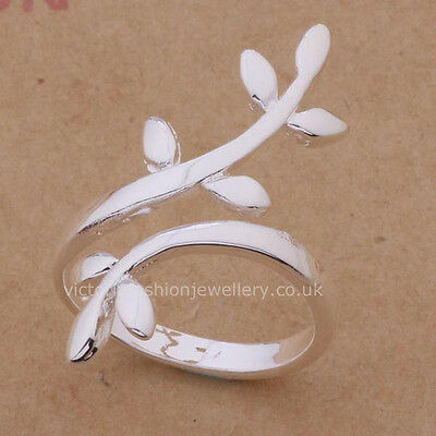 925 Sterling Silver Plated FERN LEAF RING Thumb/ Wrap Ring. ADJUSTABLE. Gift