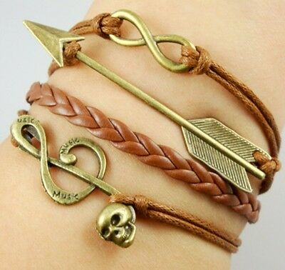 NEW Hot Infinity Love Anchor Leather Cute Charm Bracelet Bronze Cool Punk SL188