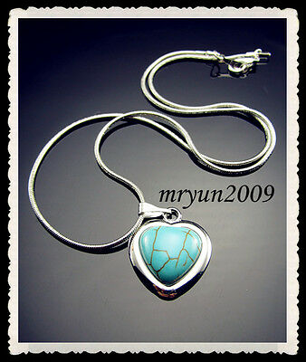 """FREE 18KGP Turquoise Heart Tibetan silver snake chain With Clasp Necklace 16.5"""""""