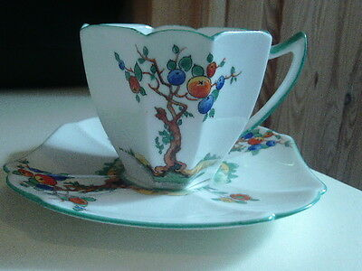 SHELLEY BONE CHINA ART DECO COFFEE CAN AND SAUCER  CRABTREE DESISGN NO 11651