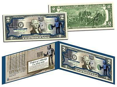 BANKSY * ROBOT TAGGING BARCODE * Colorized $2 Bill U.S. Legal Tender Street Art