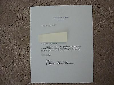 Bill Clinton signed Birthday Typed Letter on White House Stationary