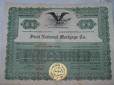 VINTAGE lot of SIX early Stock Certificates, 1919, 20, 30, 45; FAST SHIPPING