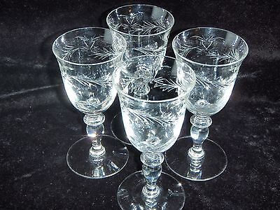 4 Hawkes Crystal Signed Louise Pattern Wine Glasses