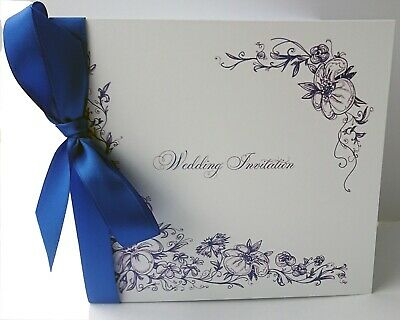 Personalised Wedding Invitations - Vintage Border - ribbon day and evening