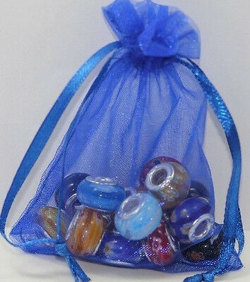 HOT Sale 25Pcs Royal Blue Solid Color Organza Jewelry Wedding Gift Bags 12x9cm
