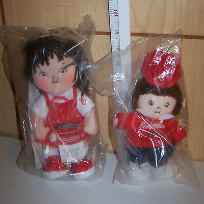 Pair of adorable Campbell's Kids Beanie Baby Dolls New in Plastic
