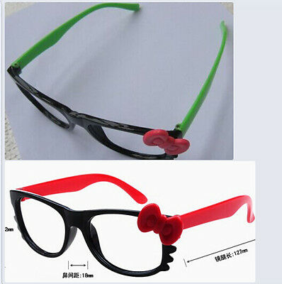 2PCS Cute Kids  Frame with Bow Tie Kitty Cat Eyes Whisker NO LENS